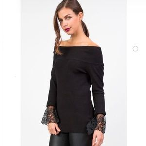 English Factory Black Off the Shoulder Sweater